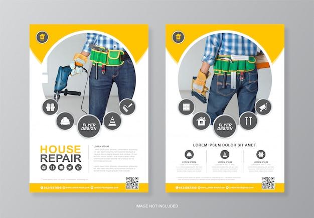 Bouwgereedschap omslag en achterpagina a4 flyer ontwerpsjabloon om af te drukken