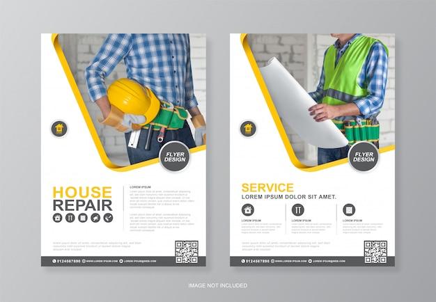 Bouwgereedschap omslag en achterpagina a4 flyer ontwerpsjabloon