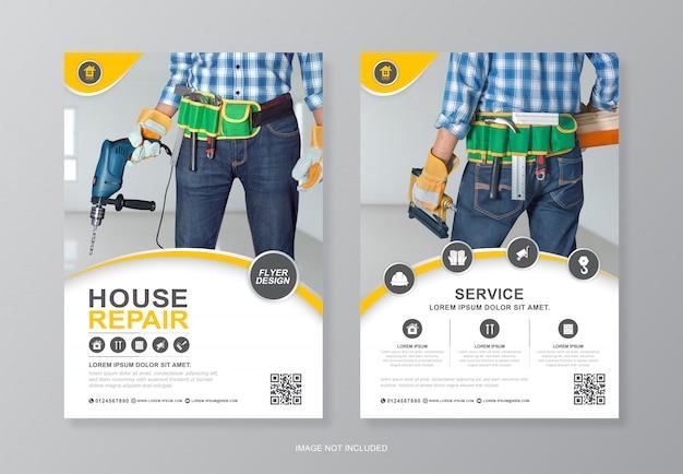 Bouwgereedschap pagina a4 flyer ontwerpsjabloon