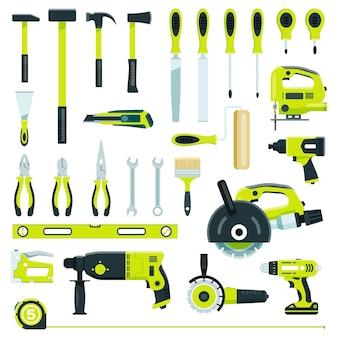 Bouwgereedschap timmerwerk apparatuur voor reparaties gebouw renovatie schroevendraaier vector set