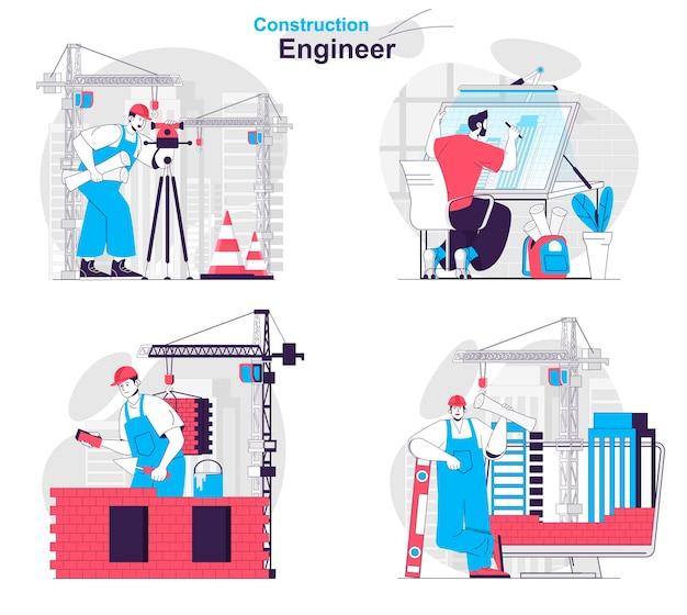 Bouwingenieur concept set landmeter architect bouwer en voorman werk