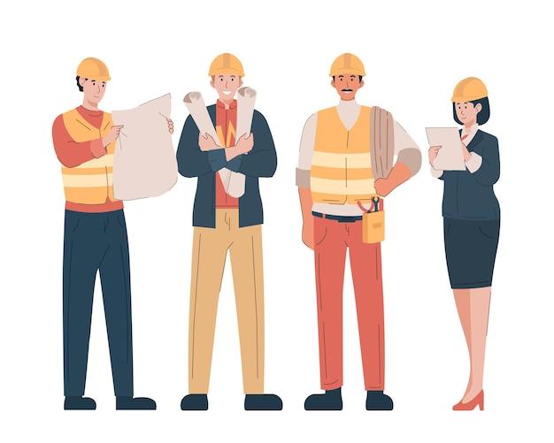 Bouwingenieur, technicus en bouwers.