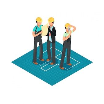 Bouwingenieurs en bouwers in gele veiligheidshelmen. 3d isometrische architect