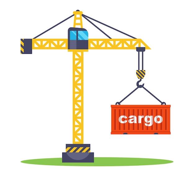 Bouwkraan heft een rode container met goederen