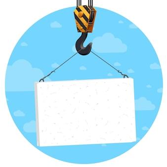 Bouwkraanhaak die leeg bord over blauwe hemel en clougs opheft. sjabloon.