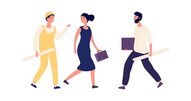 Bouwkundig bedrijf. zakenvrouw en ingenieurs. geïsoleerde platte vrouw praat met bouwer, cartoonarchitecten of bouwvakkers Premium Vector