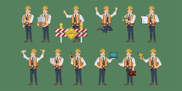 Bouwkundig ingenieur met verschillende poses