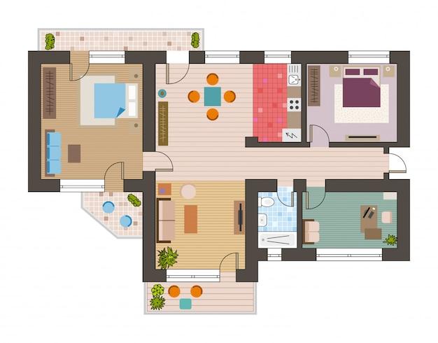 Bouwkundig plan bovenaanzicht met woonkamers