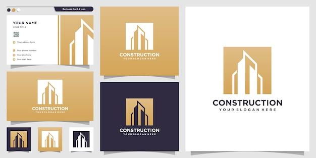 Bouwlogo met silhouetstijl en ontwerpsjabloon voor visitekaartjes, logosjabloon, gebouwlogo, onroerend goed