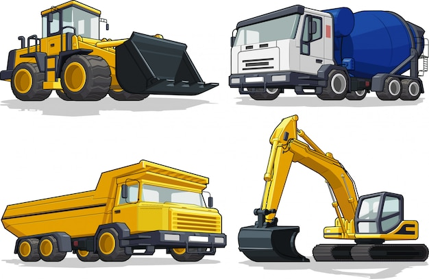 Bouwmachine - bulldozer, cement truck, haultruck & excavator Premium Vector