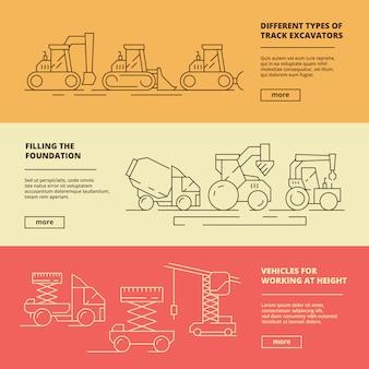 Bouwmachines banners. bouw industrie zware voertuig vrachtwagen bulldozer hijs kraan sjabloon