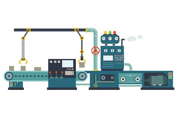 Bouwmachines voor industriële fabrieken.