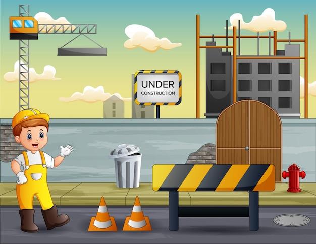 Bouwmanager bij de bouwplaatsachtergrond