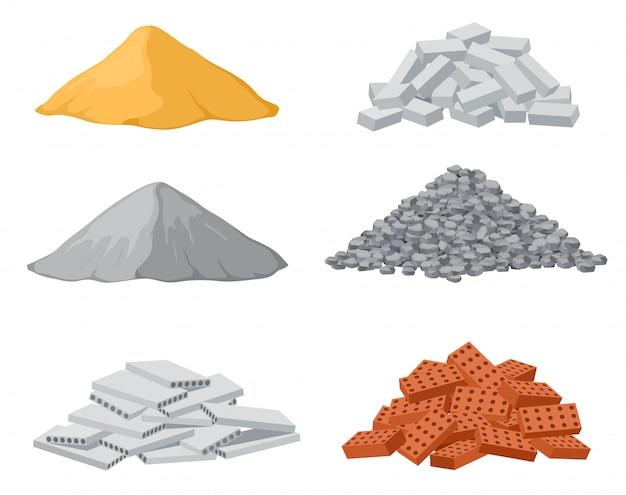 Bouwmateriaal stapels. rood en kalksteen, cementhopen. grindpaal en platen van gewapend beton geïsoleerde vector set