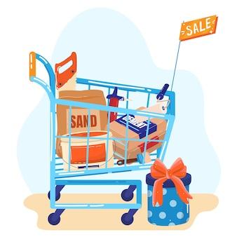 Bouwmaterialen winkel verkoop vlakke afbeelding.