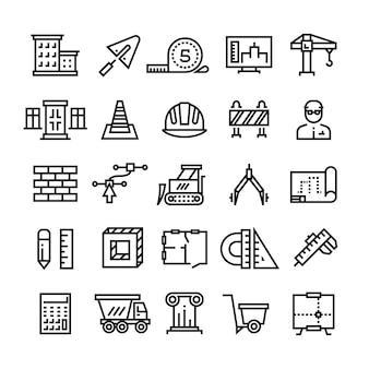 Bouwnijverheid, bouw van huis, bouwkunde en machines dunne lijn pictogrammen