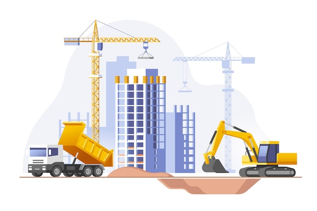 Bouwplaats bouwen van een huis onroerend goed bedrijf vectorillustratie