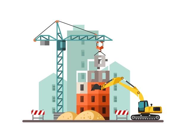 Bouwplaats die een huis bouwt