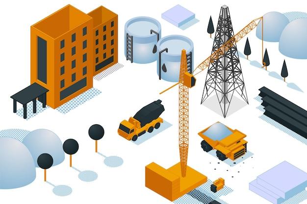 Bouwplaats gebouw creatie, zware machines olie elektriciteitscentrale 3d isometrische vectorillustratie, geïsoleerd op wit. concept fabrieksloods, serviceverwerkingsbedrijf.