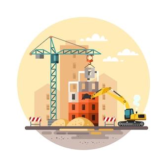 Bouwplaats, het bouwen van een huis - vlakke afbeelding.