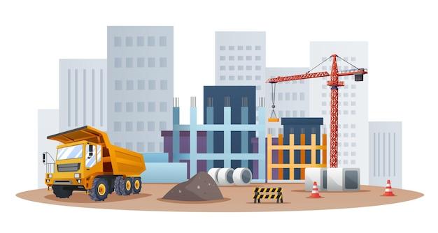 Bouwplaatsconcept met illustratie van vrachtwagens en materiaal