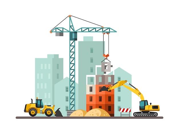 Bouwproces met huizen en bouwmachines