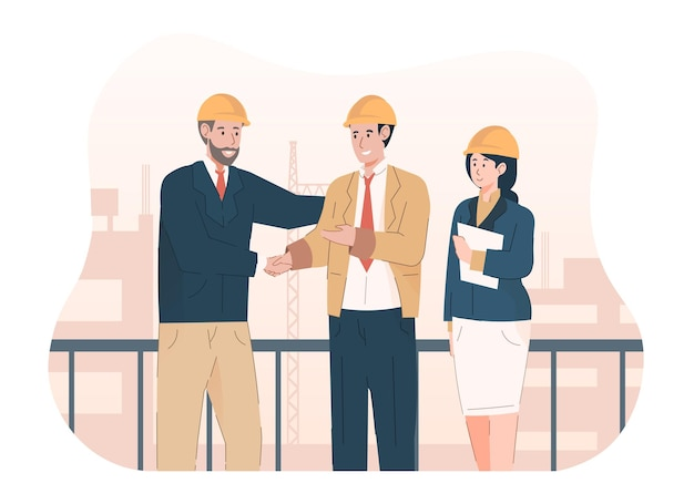 Bouwprojectmanager handen schudden na goed dealproject