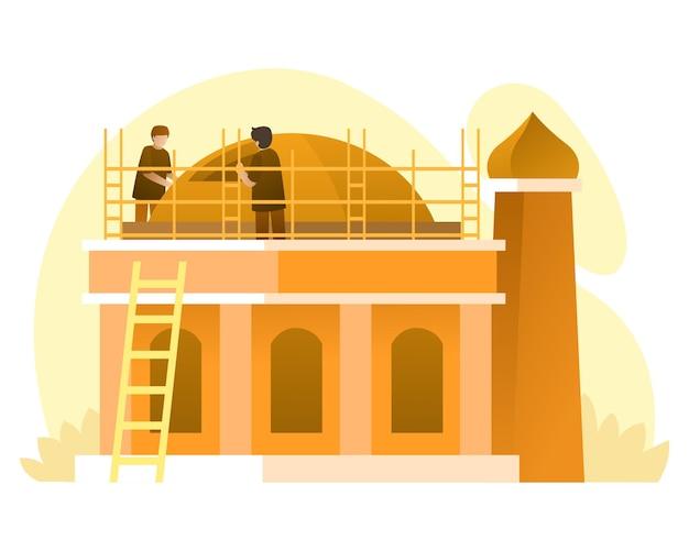 Bouwvakker die een moskee bouwt illustratie