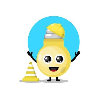 Bouwvakker lamp schattig karakter mascotte