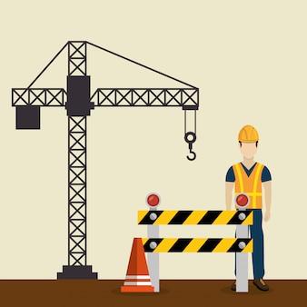 Bouwvakker met in aanbouw pictogrammen