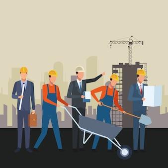 Bouwvakkers werknemers tools