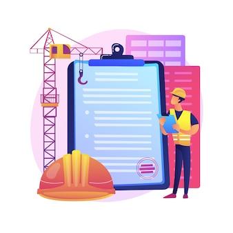 Bouwvergunning abstract concept illustratie. officiële goedkeuring, aannemerservice, renovatieproject van onroerend goed, huisblauwdruk, aanvraagformulier, onroerendgoedbedrijf