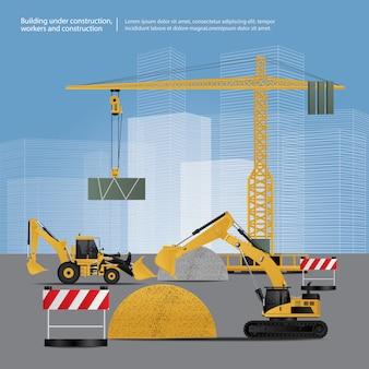 Bouwvoertuigen op site vectorillustratie