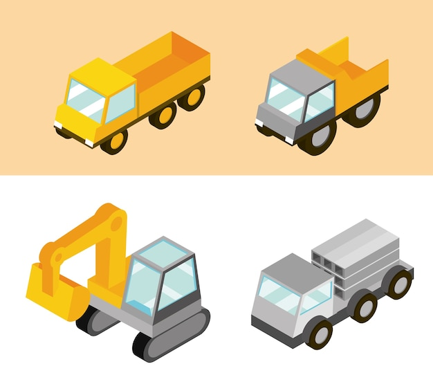 Bouwvrachtwagens machinevervoer en werk isometrische illustratie