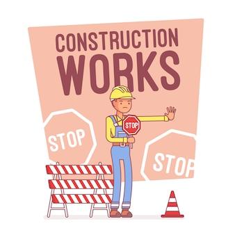 Bouwwerkzaamheden stoppen, lijn kunst illustratie