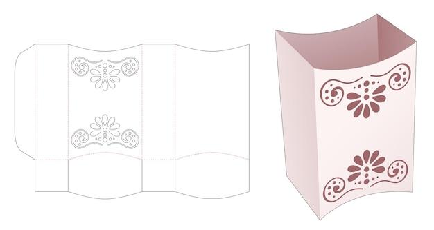 Boven- en onderkant gebogen doos met gestencilde mandala gestanste sjabloon