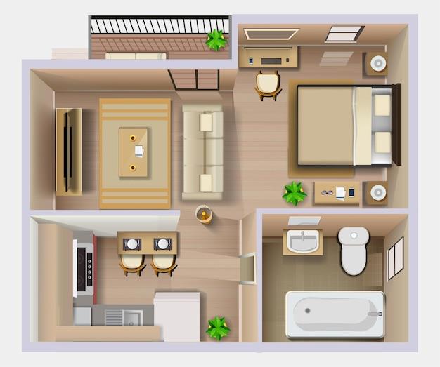 Bovenaanzicht appartement interieur gedetailleerd plan