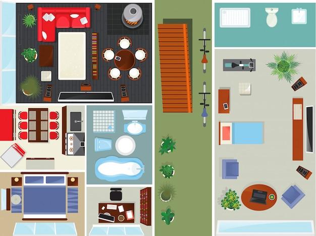 Bovenaanzicht appartement interieur set
