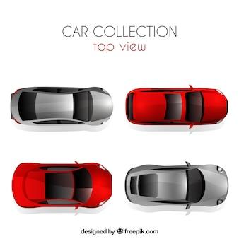 Bovenaanzicht auto collectie met zilveren en rode auto's