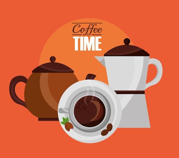 Bovenaanzicht beker en koffiezetapparaten vers drankje