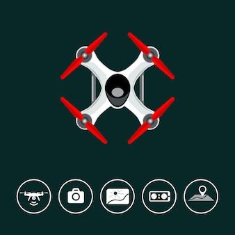 Bovenaanzicht drone met pictogrammen