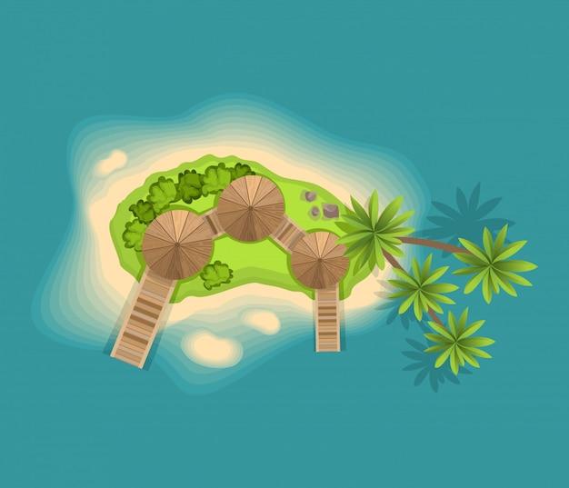 Bovenaanzicht eiland. uitzicht vanaf een hoogte op een tropisch eiland in de oceaan. vector cartoon tropisch paradijs zee eiland kust. goede zonnige dag