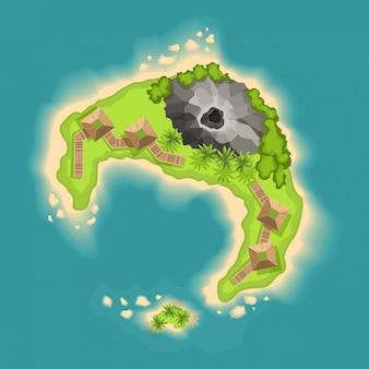 Bovenaanzicht eilanden met vulkaan. uitzicht vanaf een hoogte op een tropisch eiland in de oceaan. vector cartoon tropisch paradijs zee eiland kust. goede zonnige dag