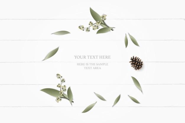 Bovenaanzicht elegante witte samenstelling papier botanische tuin plant blad bloem dennenappel op houten achtergrond.