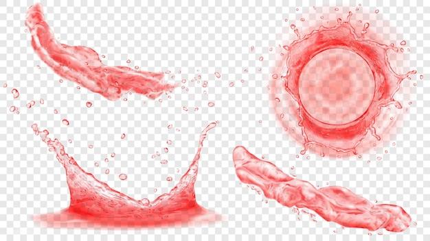 Bovenaanzicht en zijaanzicht van doorschijnende waterkronen met druppels en twee spatten of stralen in rode kleuren, geïsoleerd op transparante achtergrond. transparantie alleen in vectorformaat