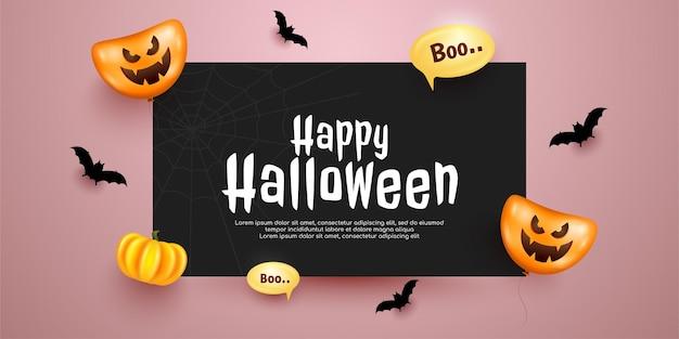 Bovenaanzicht halloween banner met zwart papier