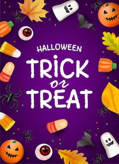 Bovenaanzicht halloween-snoepfeestachtergrond met snoep en pompoenen