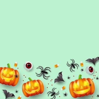 Bovenaanzicht halloween vakantie achtergrond met snoep, oogbollen, vleermuizen en spinnen. vector