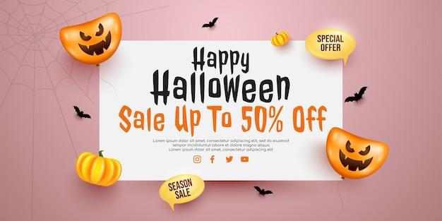 Bovenaanzicht halloween-verkoopbannerpromotie met wit bord