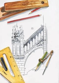 Bovenaanzicht illustratie van architect of ingenieur werkplek. liniaal, potloden, kompassen, etui, tekening. conceptuele flatlay-illustratie van creativiteit